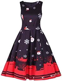eed1e3b38 MEIbax Casual Moda Vintage Vestidos de Navidad para Mujeres Sin Mangas del  Santa Claus y Nieve Estampado Mini Vestidos de Fiesta Christmas…