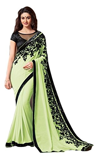 Jay Sarees Faux Georgette Saree With Blouse Piece (Jcsari2910-1807D_Green_Free Size)