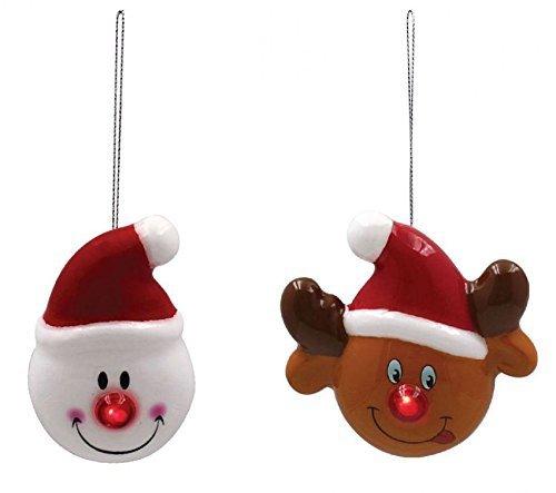Mignon Bonhomme De Neige & RUDOLPHE LED ROUGE NEZ BLANC BRUN Colifichet ornement de Noël Décorations