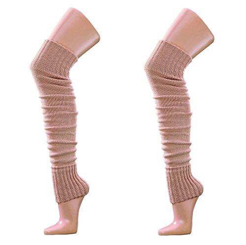 krautwear Damen Mädchen Beinwärmer Stulpen Legwarmers Overknees gestrickte Strümpfe ca. 70cm Öko-Tex Standard 100 80er Jahre 1980er Jahre schwarz beige rot weiss grau braun, Beige-2x, Einheitsgröße