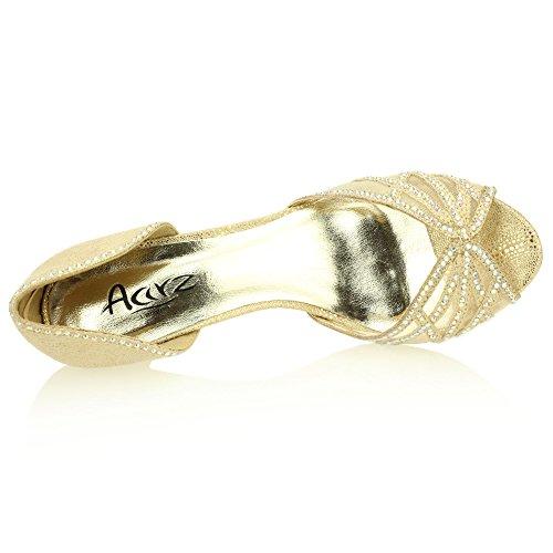 Frau Damen Abend Hochzeit Party Mittlere Kitten-Heel Diamante Peep Toe Braut Sandale Schuhe Größe (Gold, Silber) Gold