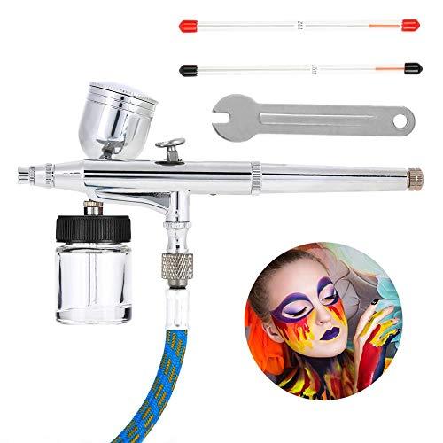 Double Action Airbrush Spray Kit für Tattoo, 2 verschiedene Düsen & Nadeln (0.2,0.5mm), Körperkunst Werkzeug mit 2 Verschiedene Flaschen, Körperbemalung Tool für Nageldesign Makeup Handwerk Kuchen