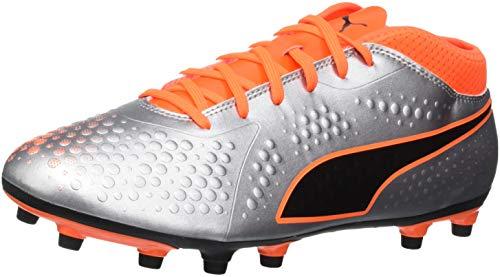 puma one 4 syn fg, scarpe da calcio uomo, argento silver-shocking orange black 01, 42 eu
