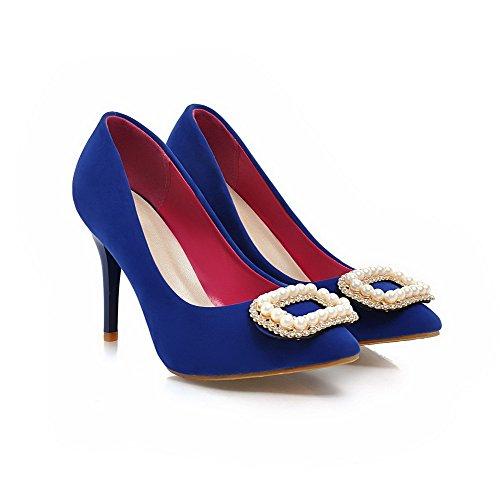 VogueZone009 Femme Mosaïque Suédé à Talon Haut Fermeture D'Orteil Pointu Tire Chaussures Légeres Bleu