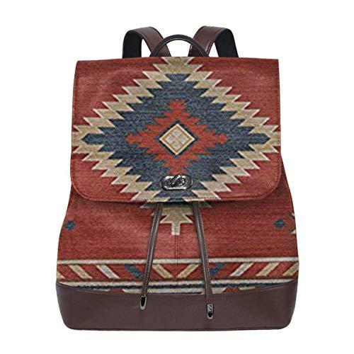 Flyup Women's Leather Backpack Southwestern Native American Design School Bag Fashion Casual Daypack Travel Shoulder Bag For Women Frauen Leder Rucksack (Native Für Männer American-kleidung)