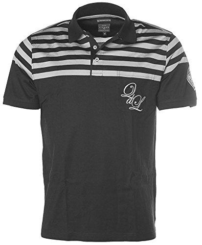 Kitaro Herren Kurzarm Shirt Poloshirt Streifen Schwarz/Silbergrau