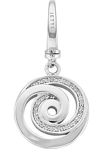JETTE Charms Damen-Charm Curling 925er Silber rhodiniert 30 Zirkonia One Size, silber