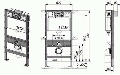 Tece Teceprofil-WC-Modul mit Tece-Spülkasten Bauhöhe 980mm Nr. 9.300.022 90/110mm, 9300022