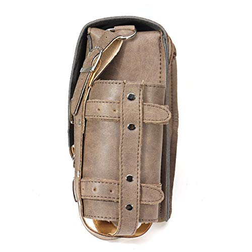 Be82aene Satteltasche Vintage Brown PU Leder Links/rechts Packtasche Satteltaschen W/Flaschenhalter for Harley Davidson (Größe : Left)