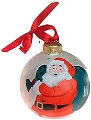 Palla di Natale con Babbo Natale - Sfera in Ceramica - Dipinta a Mano - Diametro 10 cm - Personalizzabile con