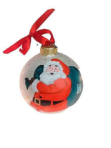 Palla di Natale con Babbo Natale - Sfera in Ceramica - Dipinta a Mano - Diametro 10 cm - Personalizzabile con Nome - Le Ceramiche Del Re