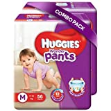 Huggies Wonder Pants Medium Size Diapers (Pack of 2, 56 Counts per Pack)