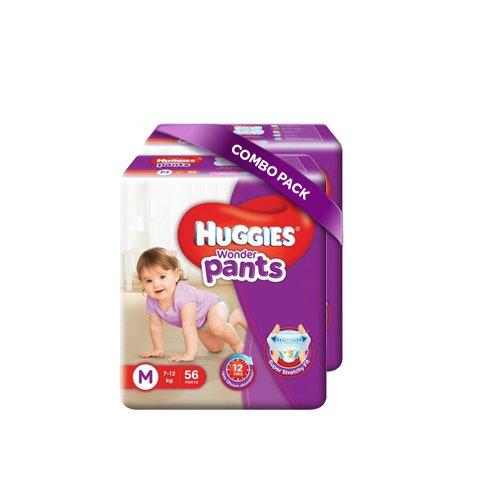 Huggies Wonder Pants Medium Size Diapers (Pack of 2, 56 Counts per Pack)