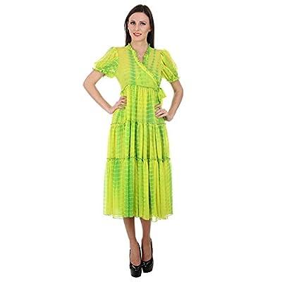 Devaleena Creations Green tie Dye-georgette-Anarkali Tier style for Ladies