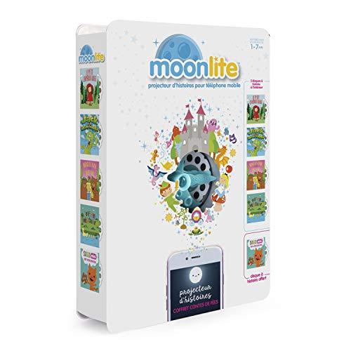 Moonlite - 6047228 - Pack Projecteur + 5 Histoires - Gift Pack Contes De Fées - Projecteur d'histoires pour Enfants