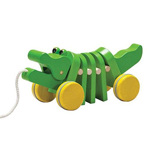 Imagen principal de Plan Toys 1355105 PlanPreschool - Cocodrilo de madera con ruedas y cuerda para tirar [importado de Alemania]