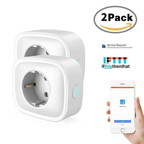 (2 Pack) intelligente steckdose COOSA mini Smart steckdose mit Stromverbrauch messen Timer Funktion,funktioniert mit Amazon Alexa ,Google Home und IFTTT, wifi smart Plug APP Fernsteurung für IOS und Android, schaltbare Steckdose ohne Hub benötig (Helfen Sie Mit Amazon Echo)