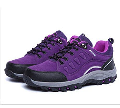 Unisex Erwachsene Gummi Zehen Schnürsenkel Outdoor Querfeldein Bergeklettern Anti-rutsch Wanderschuhe Violett