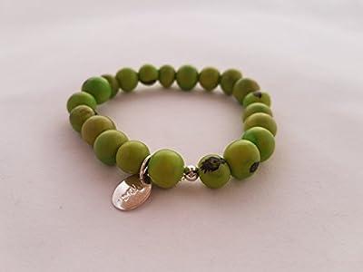 Bracelet élastiqué graines d'açai vert du Brésil et argent 925