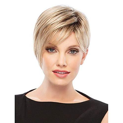 rücken Persönlichkeit kurz glattes Light Gold Haar Gradient Kunsthaar Perücken für glatt Gradient Synthetik Fabulous Perücke natürlich wie Echthaar Party Perücke, 001 ()