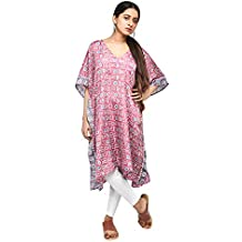 I was a Sari Women's Handcrafted Beachwear Collection Printed Kaftan - Free Size, Pink