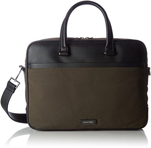 Calvin Klein Adam Nylon Laptop Bag Extra, Sacs pour ordinateur portable homme, Grün (Black Olive), 12x13x46 cm (L x H D)