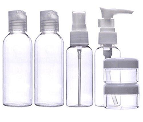 MEISHINE® 6 Piezas Transparente Botella de viaje Botella Cosmético Botella de Spray Viaje Maquillaje Envase Botellas de Viajes Aéreos para Champú, Bálsamo, Gel, Acondicionador, Crema de Baño, Loción