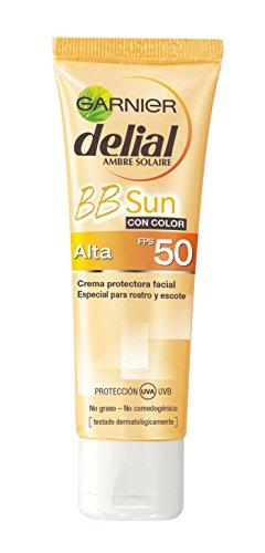 Garnier Delial BB Sun Cream, Crema protección solar 5 en 1, especial rostro y escote FPS 50, 50 ml