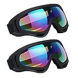 Vicloon Professionale Occhiali da Sci, Confezione da 2 Occhial UV Protection Sunglasses, Antivento Occhiali da Neve, per Uomini e Donne