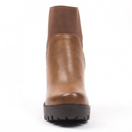 Ideal Shoes - Bottines en similicuir avec cheville élastique Penelope Camel