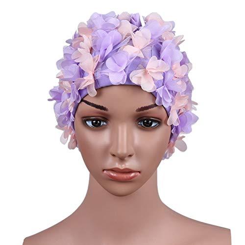 Shiningbaby Schwimmen-Hut-Kappen-Blumen-Blumenblatt, das handgemachte Frauen-beiläufige Wassersport-Schwimmen-Hut näht (Schwimmen-kappen Für Frauen Blume)