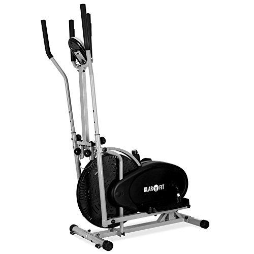 Klarfit ORBIFIT ADVANCED Heimtrainer Crosstrainer inkl. Trainingscomputer & Pulsmesser (stufenlos verstellbarer Widerstand, höhenverstellbarer Lenker, Anzeige: Kalorienverbrauch) silber