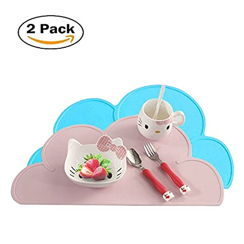 Placemat Kuke Sweet Cloud Placemat for Kids Waterproof Heat Resistant Table Mat (Blue+Pink)