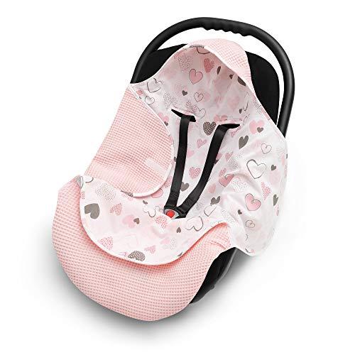 EliMeli Einschlagdecke für Babyschale 100% Baumwolle - Leichte Baby Decke für Autositz aus Waffelstoff und Baumwolle für den Sommer und Frühling, universal z.B. Maxi Cos (Rosa) (Babyschale Decke)