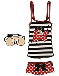 Disney Minnie Mouse Caja PJ Set con Antifaz para Las Señoras