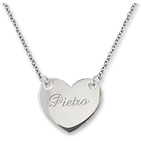 Collana in argento 925/1000, ciondolo a forma di cuore con nome inciso. Scegli tu la tua incisione - FloresGioielliShop