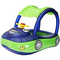 JohnJohnsen Carton Parapluie Flotteur bébé en PVC Siège Canopy Boat Anneau de baignade gonflable pour Petits Enfants Avec Volant (Bleu foncé et Vert)