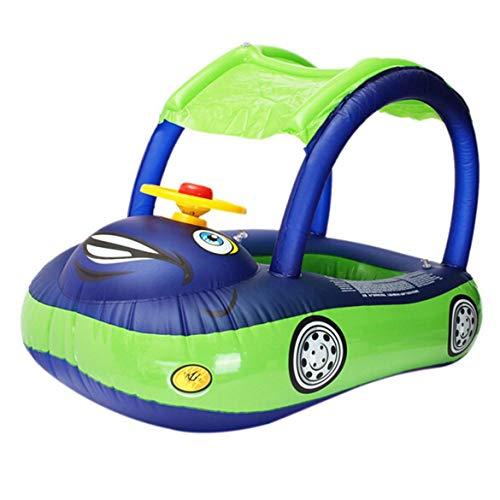 Karton Sonnenschirm Baby Wasser Float PVC Sitz Boot mit Baldachin Aufblasbare Kleinkind Schwimmring mit Lenkrad - Dunkelblau & Grün (Spielzeug, Float Boot)