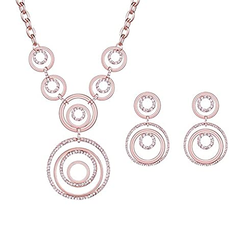 Jewelry Temperament Necklace Earrings Two-piece set Circle Costume Accessories KC Golden