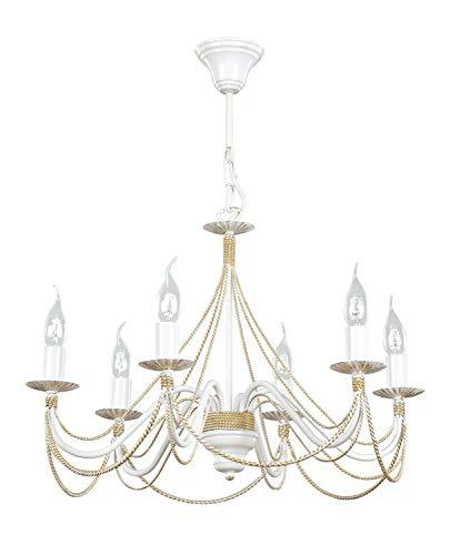 Weiße Rustikale Esstisch (Kronleuchter MARIA Weiß Gold antik 6-flammig Rustikal Für Esstisch Wohnzimmer Schlafzimmer Lampe)