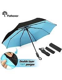 Paraguas Plegable Antiviento Grande de Apertura Automática Portátil Durable con Tira Reflectora de Luz Protección SPF 50+ A Prueba de Viento Clásico Negro para Adultos Niños