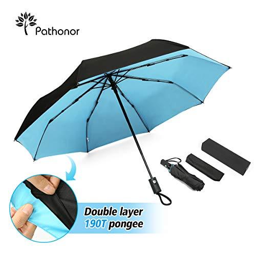 Pathonor Parapluie Pliant à Ouverture Automatique Résistant au Vent Parapluie de Poche pour Camping Randonnée Parapluie Golf Double Toile Grand Parapluie Imperméable de Voyage Anti-UV Anti Tempête