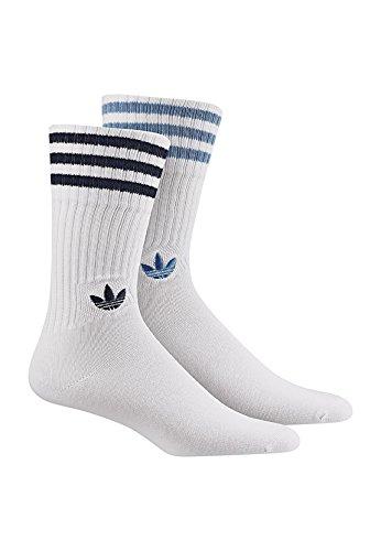 adidas Damen Solid Crew Socken, White/Collegiate Navy/Ash Blue, 39-42