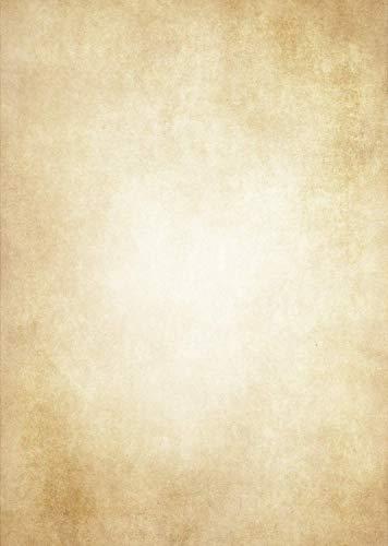 Hochwertiges Vintage Briefpapier 50 Blatt DIN A4 - Altes Retro Papier Beidseitig bedruckt - Vergilbtes Mittelalter/Einladungen/Flaschenpost/Antik/Urkunde Briefpapier - 120 Gramm