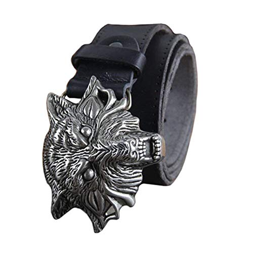Mens Genuine Leather Belt For Gifts 38 Mm With Leather Belt With Wolf Head Buckle Vintage Fashion Belt Waist Belt For Man (Color: Schwarz, Size: 70-80cm)