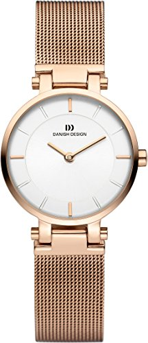 Danish Design Women's Quartz Watch with White Dial Analogue Display and Rose Gold Stainless Steel Rose Gold Plated Bracelet DZ120373