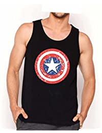 Veirdo Printed Sleeveless Black Round Neck Men's Cotton Tshirt /Vest-Captian America Sheild