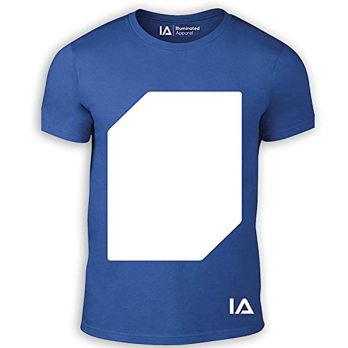 Illuminated Apparel Interaktive Leucht T-Shirt - Blau (mit weißer Panel),M -