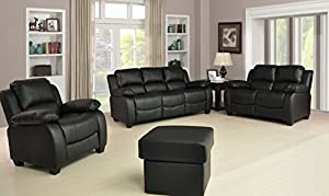 Valerie Black Leather Sofa Suite 3+2 Seater Brand New 12 Months warranty FREE DELIVERY TO ENGLAND AND WALES by Furnitureinstore