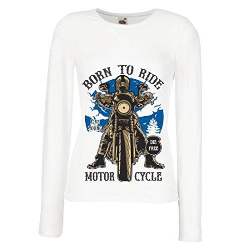 Weibliche Langen Ärmeln T-Shirt Live Young - Die Free - geboren, Motorrad zu Fahren, Geschenkideen für Biker, inspirierende Slogans (Large Weiß Mehrfarben)